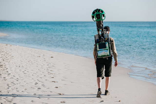 Photo of Kerstin Stender from Parks and Wildlife Service WA captures Turquoise Bay with Google Street View Trekker.