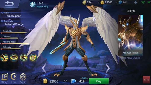 tanggal rilis hero kaja Mobile Legend