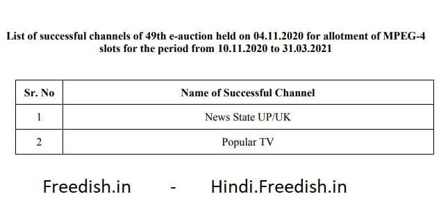 49th Online E-Auction Results Declared - 2 Channels won