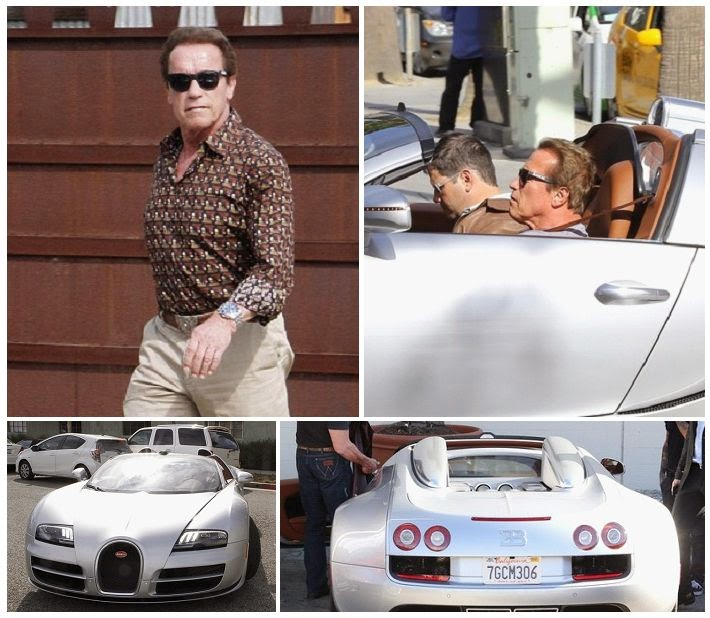 yellow stone and art arnold schwarzenegger driving a 2 million car of the bugatti veyron at. Black Bedroom Furniture Sets. Home Design Ideas