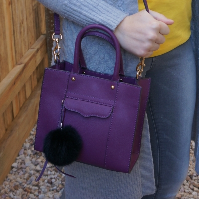 grey cardigan and skinny jeans with Rebecca Minkoff mini MAB tote in plum  | awayfromblue