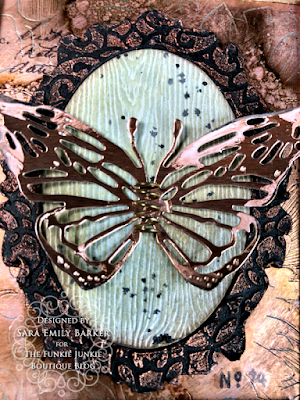 Sara Emily Barker https://sarascloset1.blogspot.com/2020/06/copper-penned-panel.html Mixed Media Panel #timholtz #sizzix #stampersanonymous #ranger 5