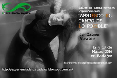 """Cartel del curso """"Abriendo el Campo de lo posible"""" días 13 y 14 de Marzo con imagen de una bailarina"""