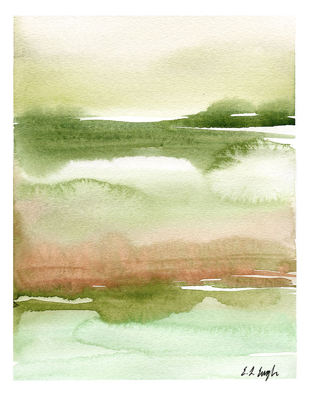 Green Abstract Watercolor Landscape Painting by Elise Engh