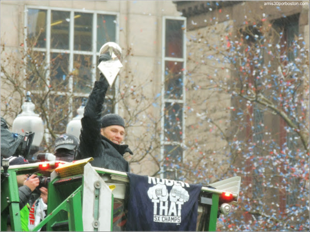 Tom Brady en el Desfile de la Super Bowl en Boston