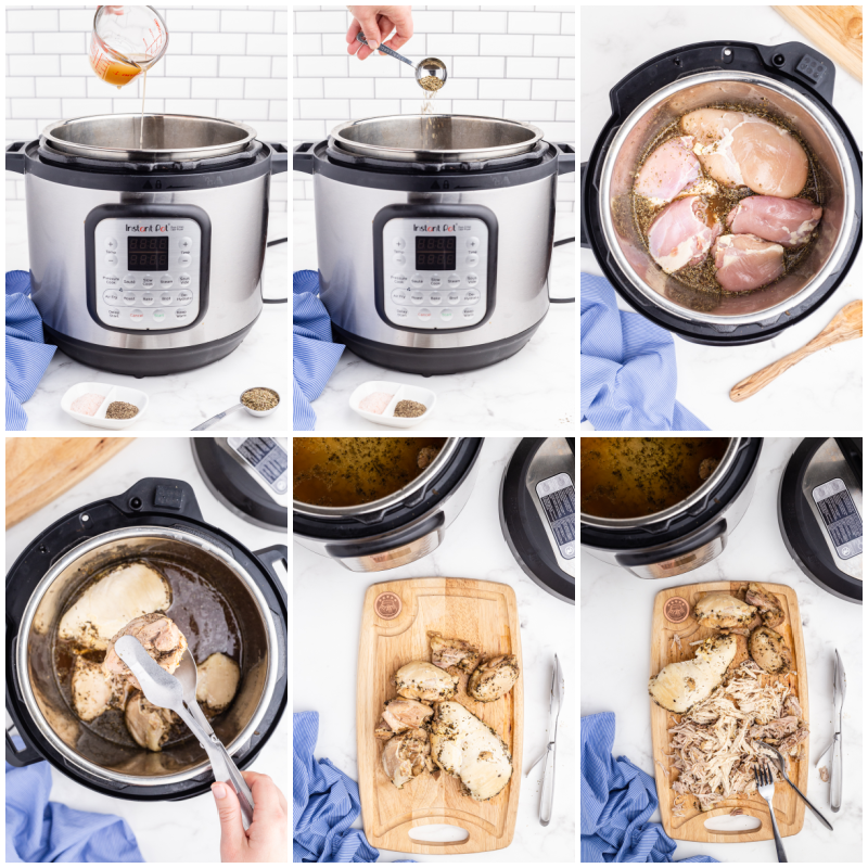 Six photos of the process of making Instant Pot Shredded Chicken.