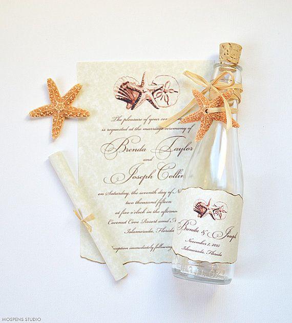 Tarjeta de Invitación Novedosa Pergamino en Botella