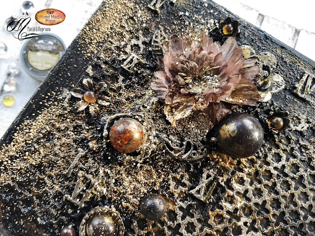 Altered mixed media suitace tutorial by Maria Lillepruun
