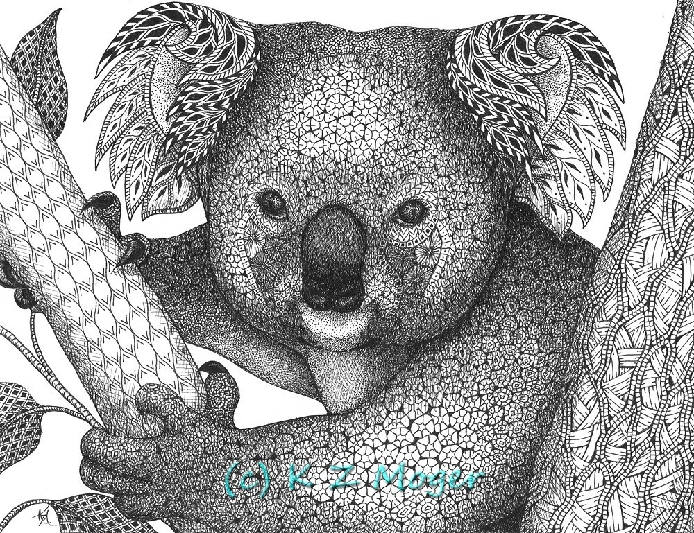 04-Koala-Kristin-Moger-Animal-Portraits-Dressed-with-Zentangle-Textures-www-designstack-co