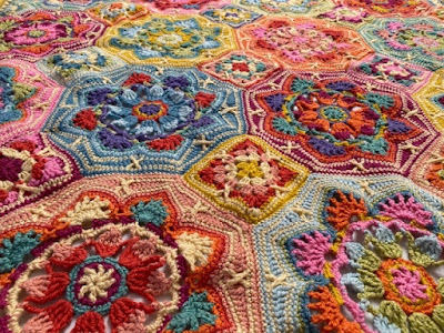 Persian Tiles Eastern Jewels crochet blanket close up
