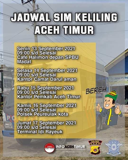 Berikut Jadwal SIM Keliling Aceh Timur 13-17 September 2021