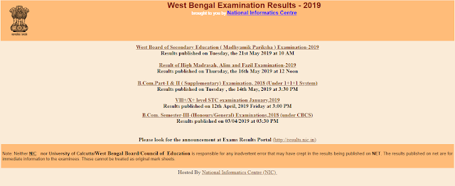 West Bengal Board WBBSE Result 2019