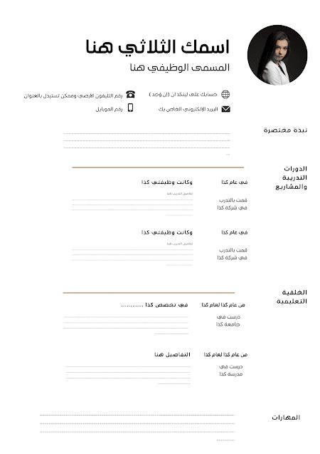 نموذج سيرة ذاتية عربي