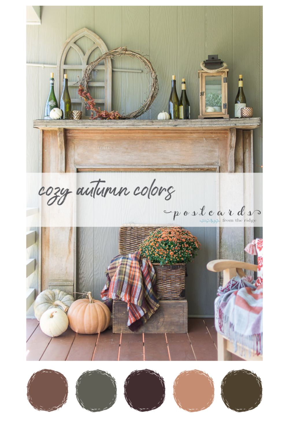 cozy rustic fall mantel with coordinating paint color palette