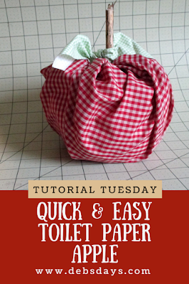 Quick and Easy Stuffed Fabric Apple Decoration from Roll of Toilet Paper
