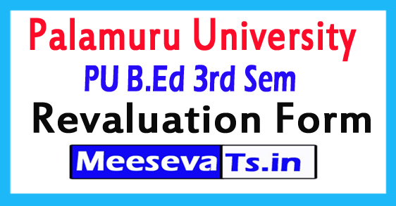 Palamuru University B.Ed 3rd Sem Revaluation Form 2017