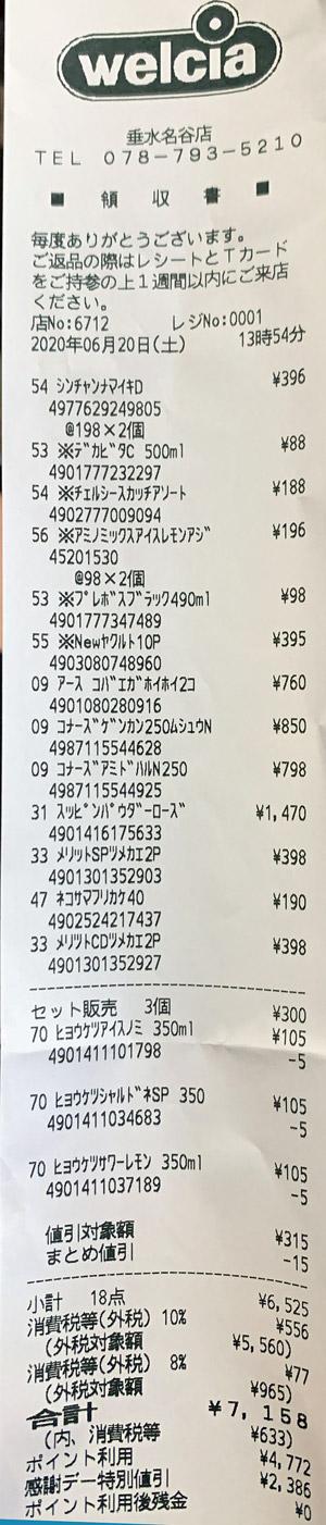 ウエルシア 垂水名谷店 2020/6/20のレシート