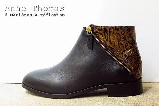 Bottines Anne Thomas serpent et cuir noir et or