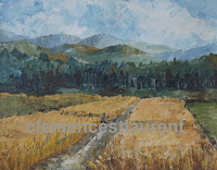 Wheat fields, 8 x 10 oil painting by Clemence St. Laurent