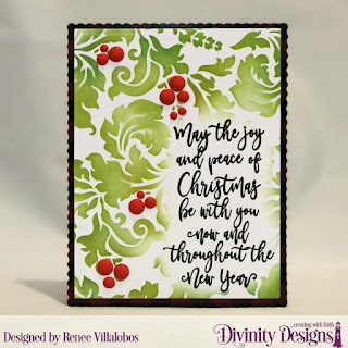 Mixed Media Stencil: Flourishes, Stamp Set:  Christmas wishes, Paper Collection: Rustic Christmas, Custom Dies: Scalloped Rectangles