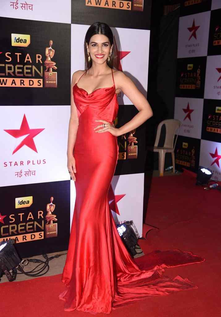 Kriti Sanon Spicy Red Deep neck Sleeveless Gown Stunning Pics