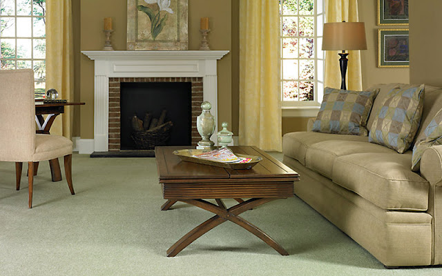 This light green carpet takes the role of a neutral base while also bringing freshness to the room.