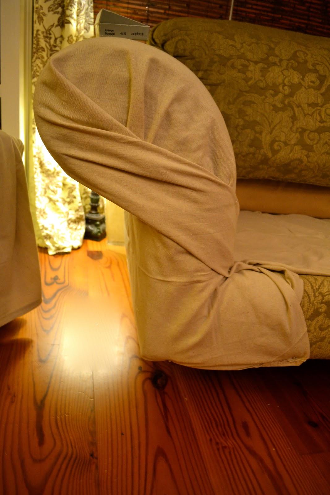 Diy Chair Slipcover No Sew Bedroom Table Set Ediblecreativity Tuck Pin Done Loveseat