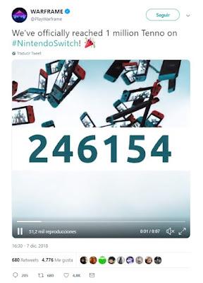 Warframe alcanza el millón de descargas en Nintendo Switch