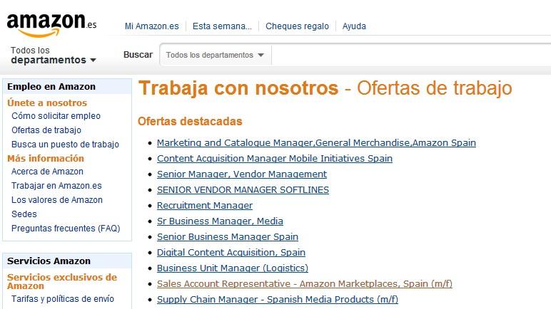 puestos de trabajo amazon españa