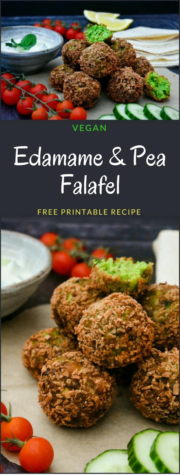 Green Edamame & Pea Falafel with a Yoghurt, Cucumber & Mint Dip (vegan recipe)
