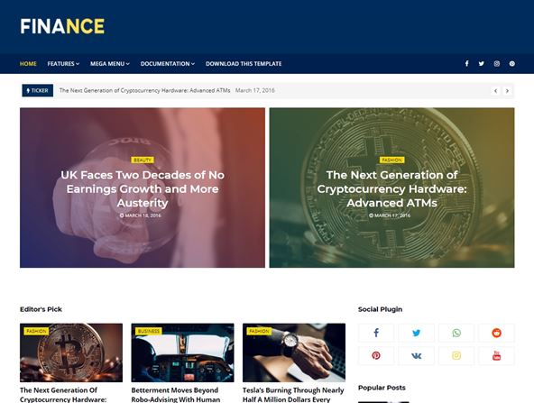 Finance Lates Blogger Template for News Website