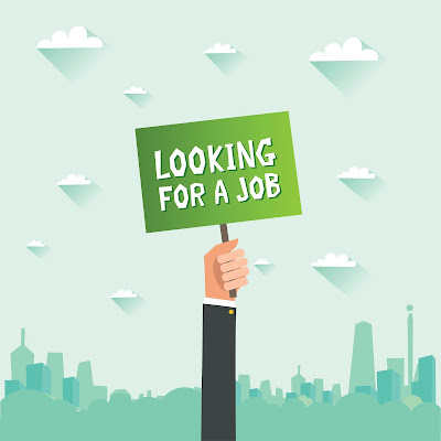 illustrated image of a hand holding up a sign that reads 'looking for a job.""
