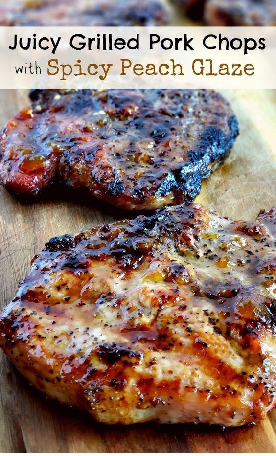 Juicy Grilled Pork Chops With Spicy Peach Glaze
