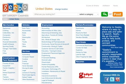 Geebo : Backpage Alternatives