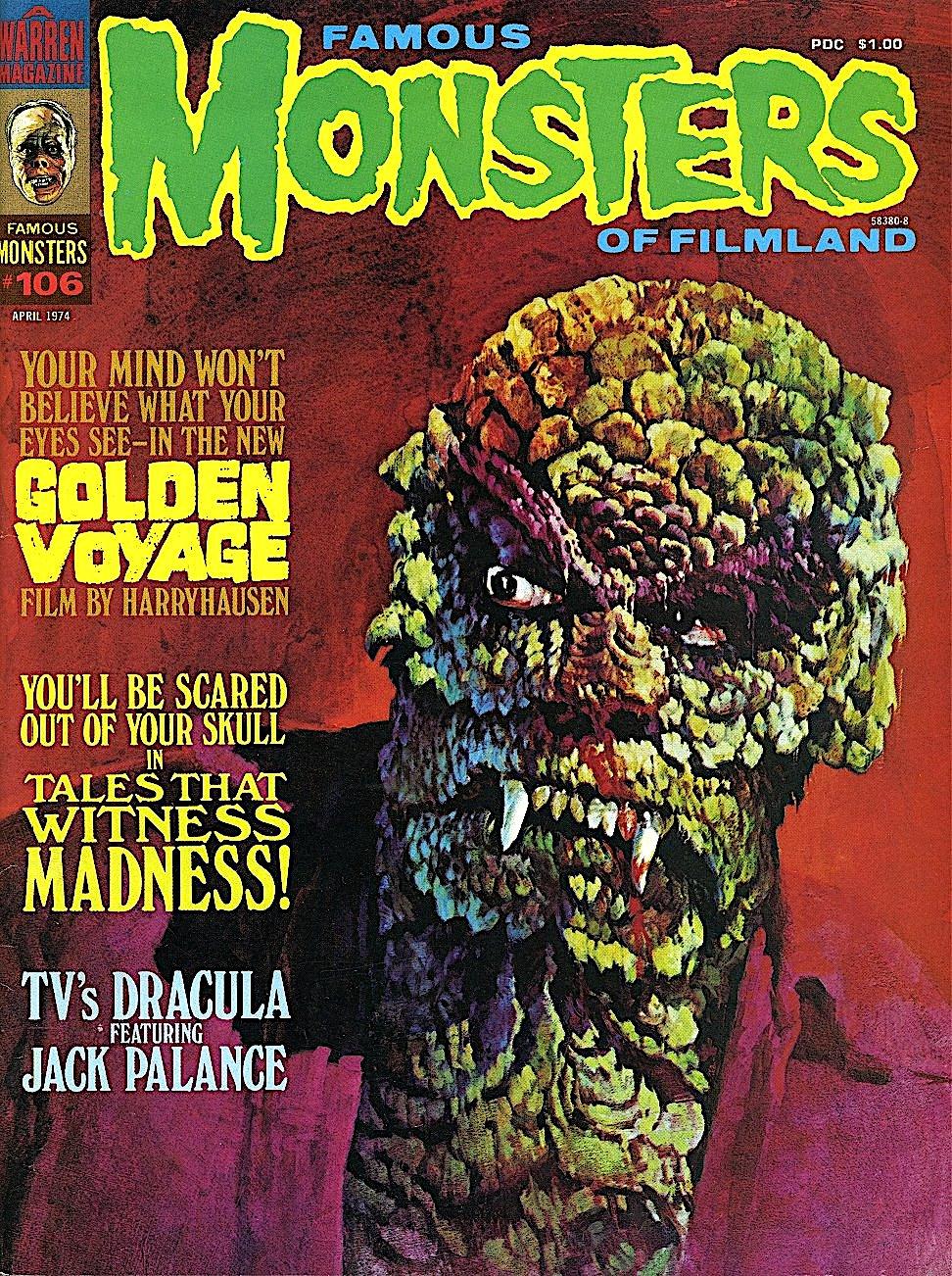 a Basil Gogos illustration for Famous Monsters Of Filmland #106, April 1974