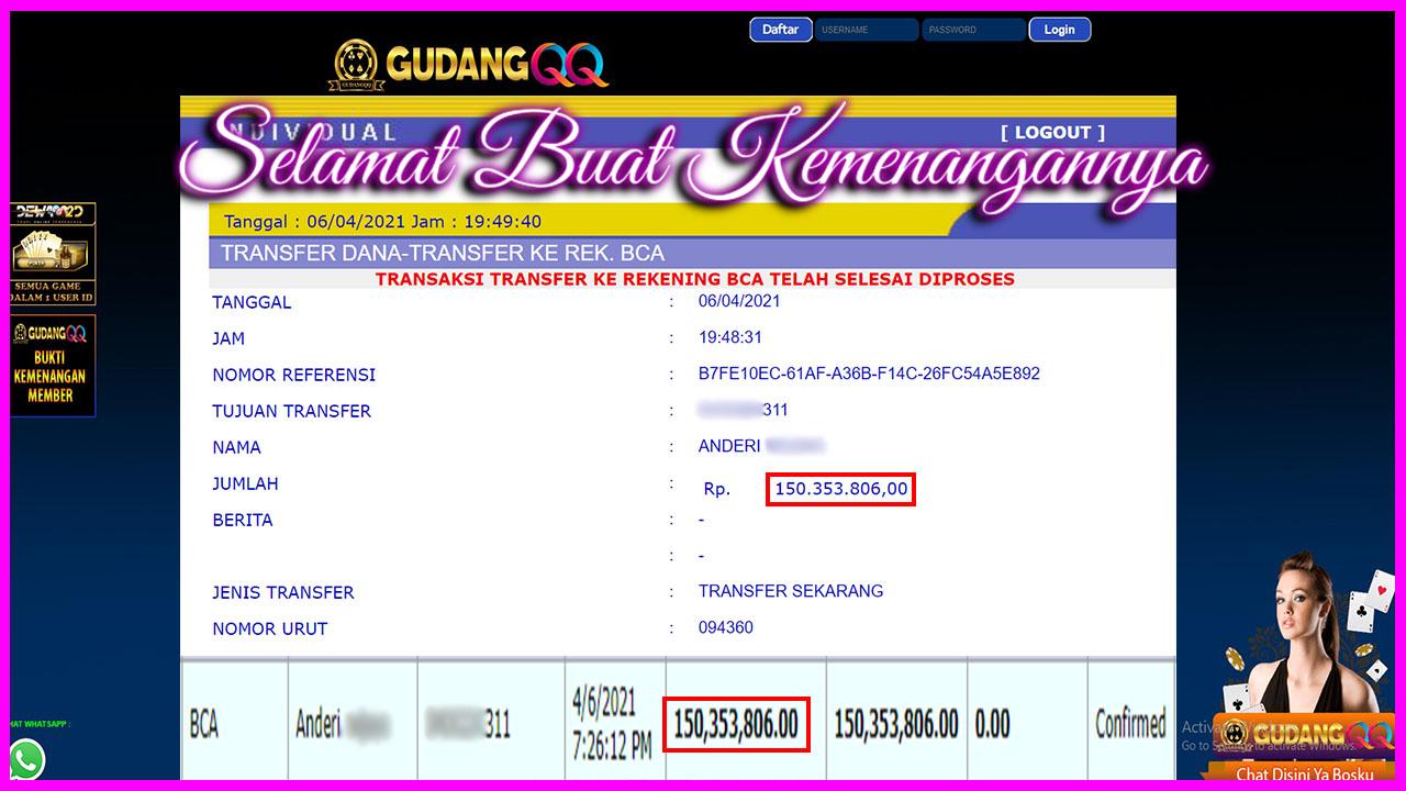 Selamat Kepada Member Setia GudangQQ WD sebesar Rp. 153,353,806.-