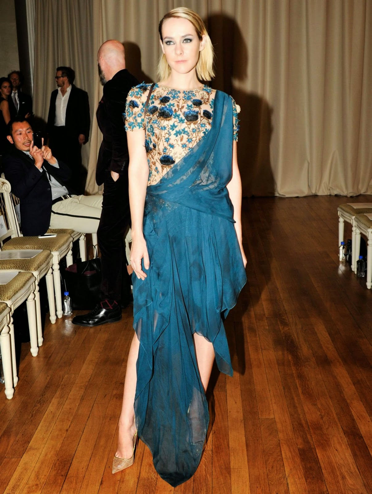 Jena Malone dazzles at the Marchesa Spring 2015 London Fashion Week Show