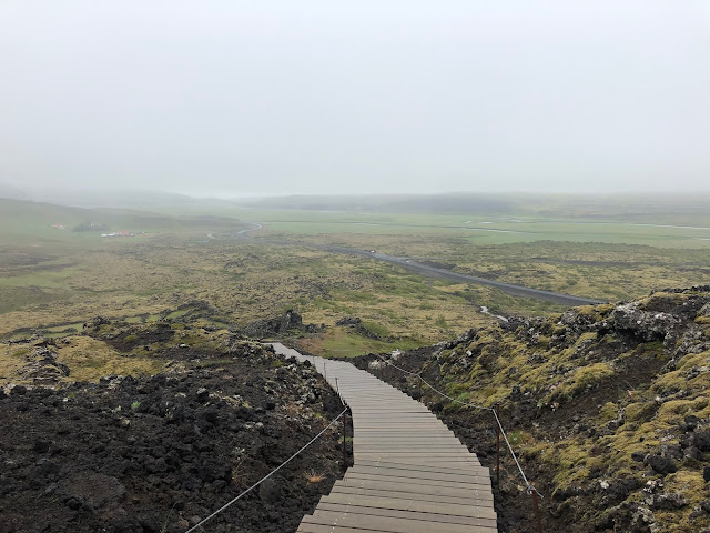 The path up to Grabrok Crater in West Iceland.