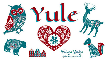 "Yule banner with nordic cut out images in green and red owl, bear, village, cat, deer and ""yule"" in celtic letting with ""vintagebrdge @anartsnotebook"" logo"