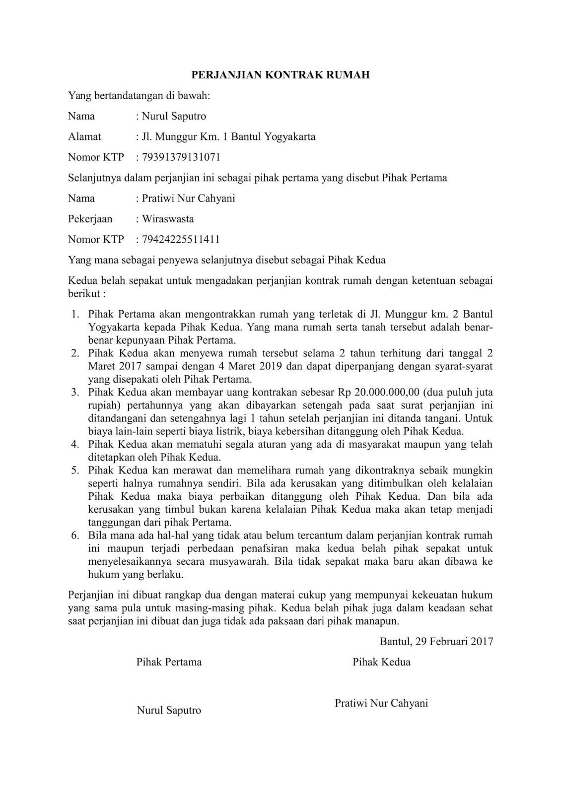 Contoh Surat Perjanjian Kontrak Rumah Sederhana
