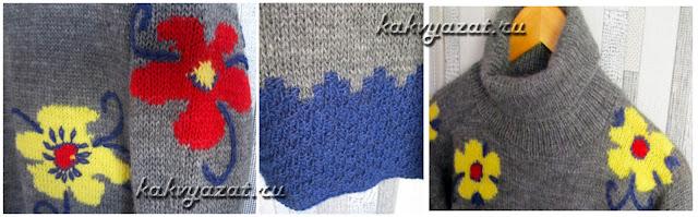 Детали свитера и элементы узора крупным планом.