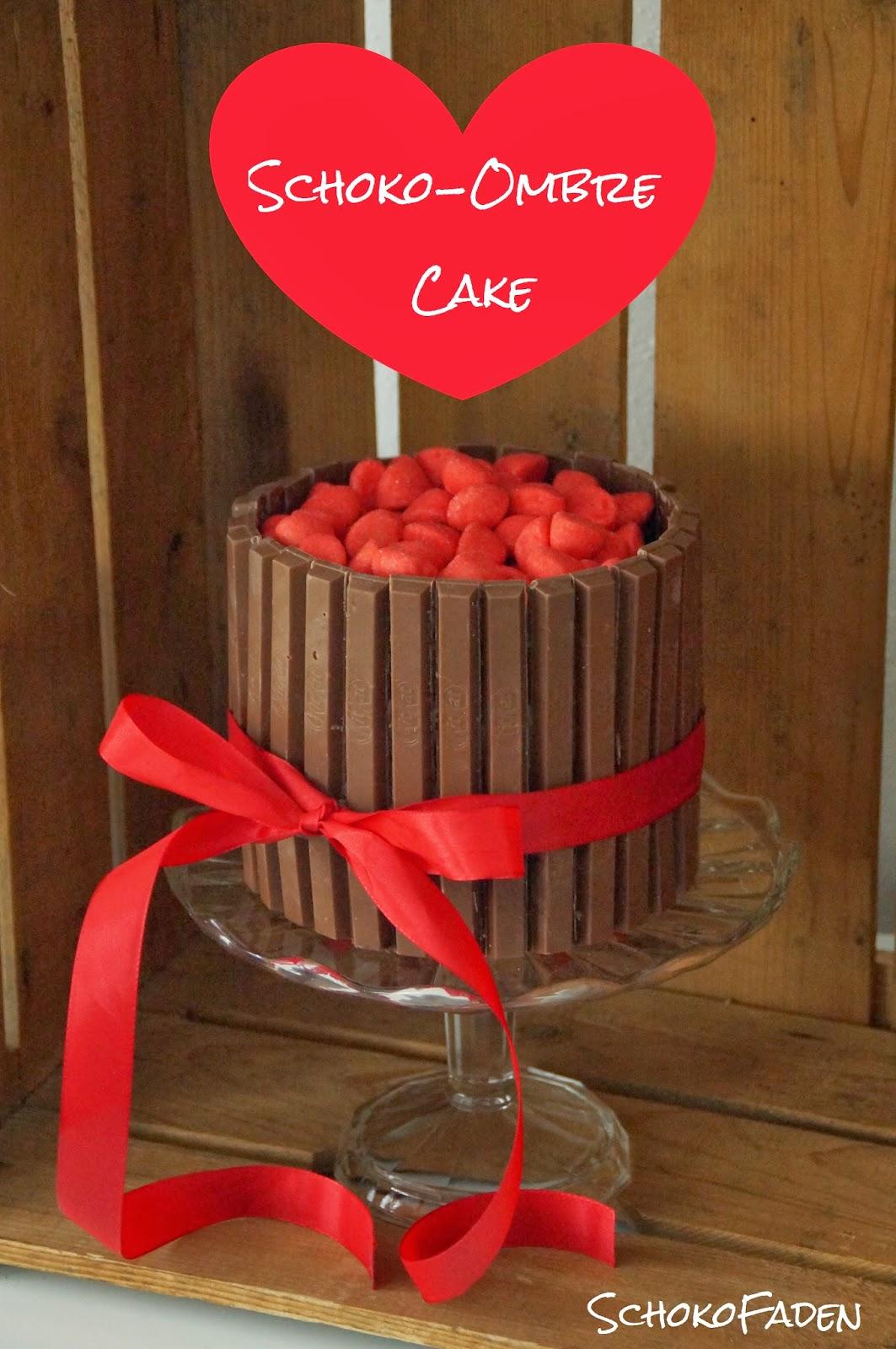 Schokofaden Schoko Ombre Cake Zum Valentinstag
