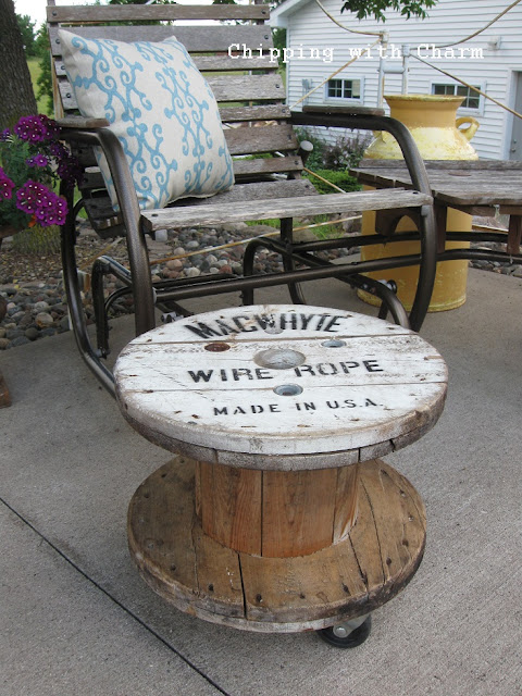 Chipping with Charm:  Old Spool to Ottoman...http://www.chippingwithcharm.blogspot.com/