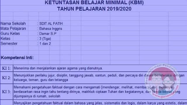 Download KKM Bahasa Inggris Kelas 3 K13 Semester 2