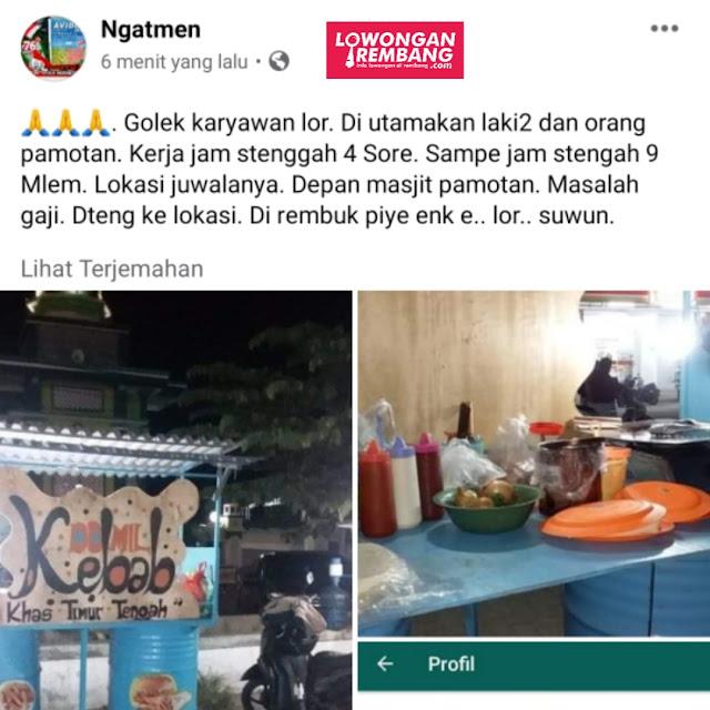 Lowongan Kerja Karyawan Kebab Depan Masjid Pamotan Rembang