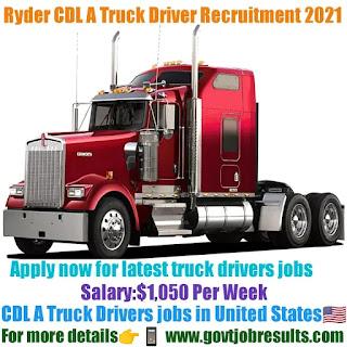 Ryder CDL A Truck Driver Recruitment 2021-22