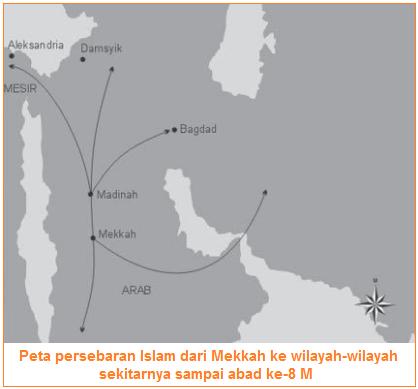 Peta persebaran Islam dari Mekkah ke wilayah-wilayah sekitarnya sampai abad ke-8 M - Islam Pada Masa Khulafaur Rasyidin, Dinasti Umayyah, dan Dinasti Abbasiyah