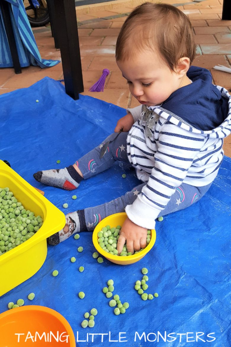 activities for babies - frozen pea sensory bin