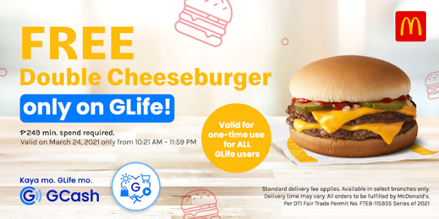 order in GLife and get FREE McDonald's Double Cheeseburger