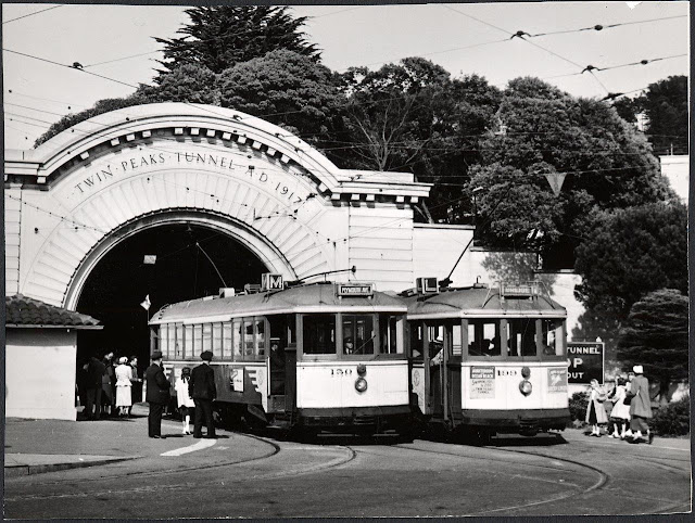 Twin Peaks tunnel from the West Portal access, circa 1955. Courtesy of San Francisco History Center, San Francisco Public Library.